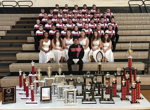 East Surry High School Band with Trophies