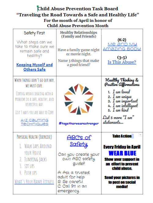 Child Abuse Prevention Task Board
