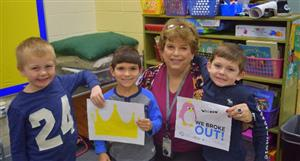 Kindergarten students from Dobson Elementary with Jean Ingram