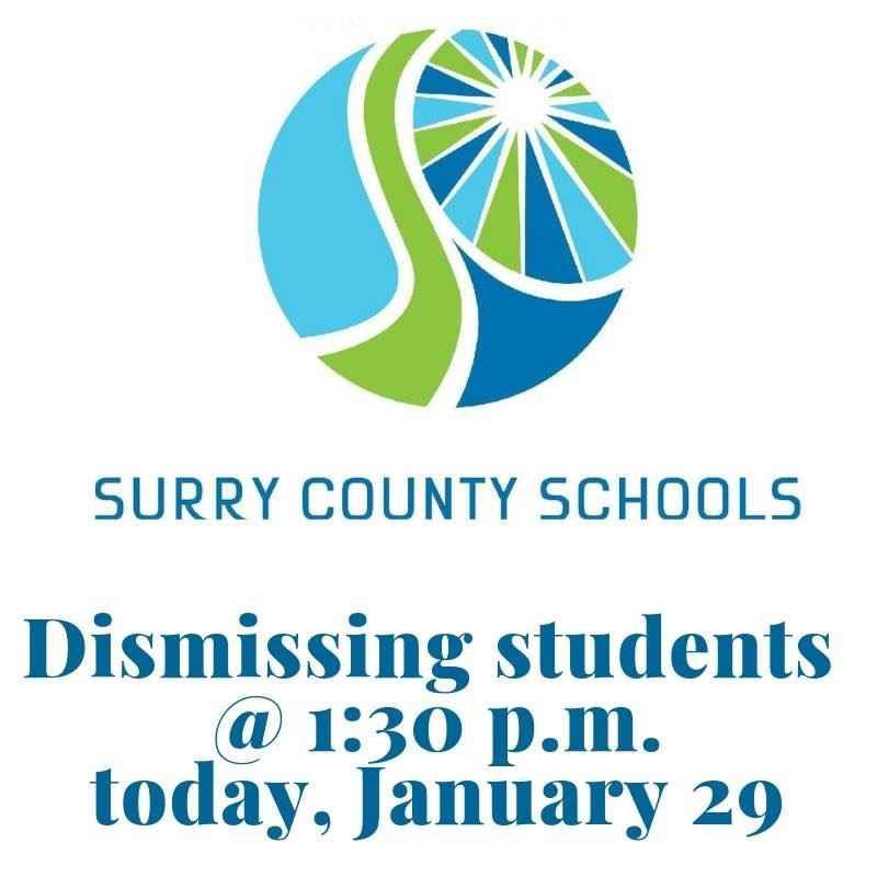 SCS Will Dismiss at 1:30 on Tuesday, January 29