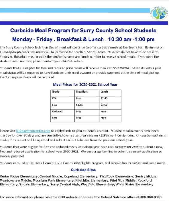 Curbside Meal Program for Surry County School Students Monday - Friday . Breakfast & Lunch 10:30 a