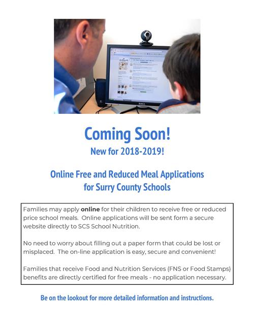 Online Free and Reduced Meal Applications  for Surry County Schools