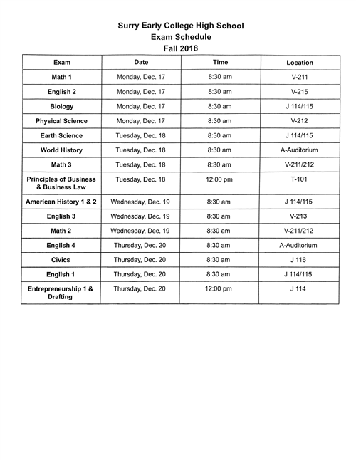 Surry Early College High School Exam Schedule